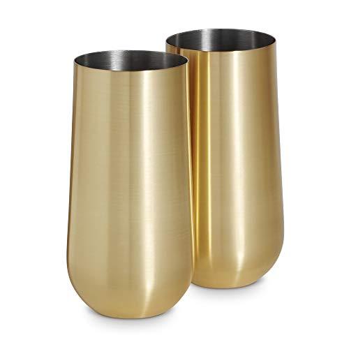 VonShef Longdrinkgläser Highball Becher - 2 Stück Gebürstetes Gold mit Geschenkbox -