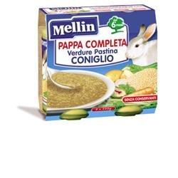 Mellin Pappa Completa al Coniglio per Bambini, 6+ Mesi - 2 Vasetti da 250 gr - Totale 500 gr