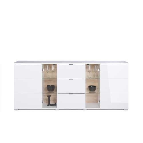 Sideboard in weiß Hochglanz, chromatierte Metallgriffe, wendbare Rückwände, Füße silber lackiert,Maße: B/H/T ca. 200/85/40 cm - 5