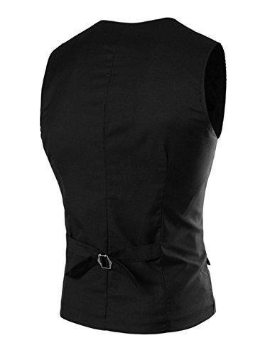 sourcingmap Hommes Poches À Rabat Revers Châle Veste Droite Slim Fit Gilet Noir