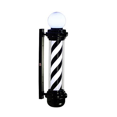 QIAO LED Barbers Pole Friseursalon Logo Rotierenden Licht Schwarz Und Weiß Rotierenden Licht Salon Shop Zeichen Wandleuchte (Farbe : Black+White, größe : 88cm)