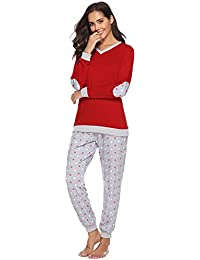 0e3e96a06f Hawiton Women Pyjamas Set Loungewear Full Length Top   Bottoms Sleepwear  Cotton PJ s Set Jogging Style
