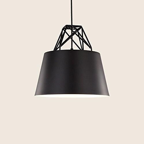 GZLOFT Pendelleuchte Deckenleuchte Hänge lampe Kronleuchtern Postmoderne Single Head Farbe Büro Esstisch Schwarz, 30 * 30 cm (Schwarze Esstisch Zeitgenössischen)