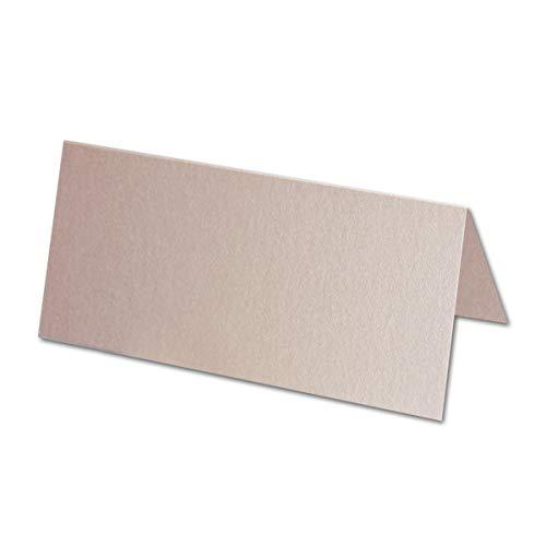 100x Tischkarten in Quarzrosa Perlmutt - 4,5 x 10 cm - 240 g/m² - blanko Doppel-Karten mit stabilem Stand - ideal als Platzkärtchen und Namenskärtchen