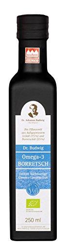 Dr. Budwig Omega-3 Borretsch - Das Original - Leinöl mit einem hohen Anteil an wertvollen Borretschöl kombiniert, 250 ml