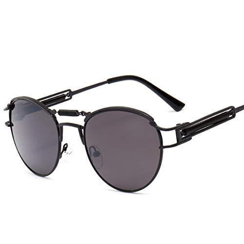 Oval Spring Sonnenbrille für männer Frauen polarisierte Sonnenbrille Sport Sonnenbrille metallrahmen uv-Schutz umrandeten Sonnenbrille Brille (Farbe : Schwarz)