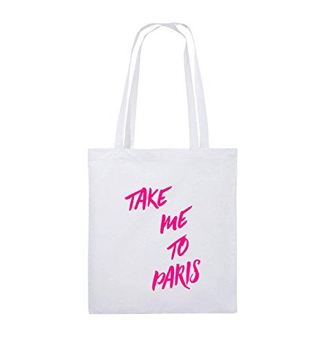 Comedy Bags - TAKE ME TO PARIS - Jutebeutel - lange Henkel - 38x42cm - Farbe: Schwarz / Silber Weiss / Pink