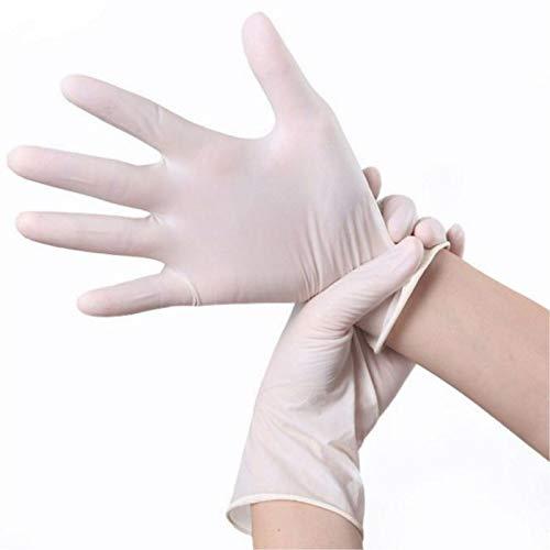 Einweghandschuhe 100 Stück Einweg-Latexhandschuhe rutschfeste Säure- Und Alkalikautschuk-Latexhandschuhe Laborreinigungsmittel Haushalt S