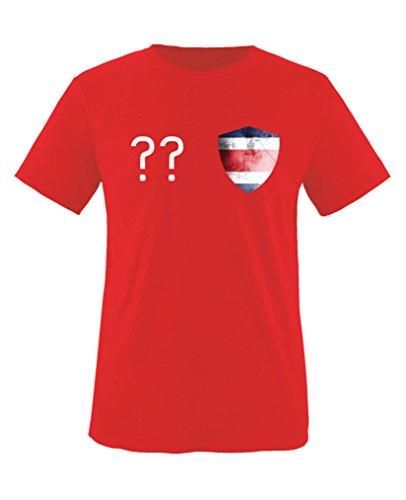 Costa Rica Kleid (Comedy Shirts - Costa Rica Trikot - Wappen: Klein - Wunsch - Kinder T-Shirt - Rot / Weiss Gr. 110-116)