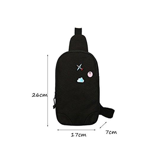 CLOTHES- Versione coreana della spalla trasversale trasversale della tela di canapa Sacchetto di cassa delluomo del sacchetto di viaggio di svago libero di modo ( Colore : Grigio ) Nero Venta De Ebay roWpP