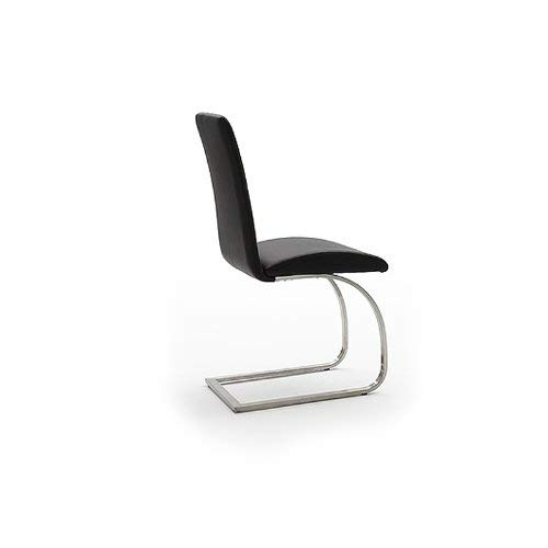 2x Schwingstuhl ECHT LEDER schwarz Freischwinger Esszimmerstuhl Polsterstuhl