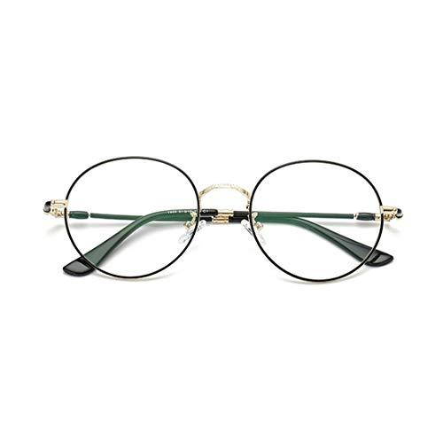Sakuldes Fashion Round Eyewear Frame Klare Linse Gläser Unisex Nicht Verschreibungspflichtige Brillen Rahmen for Frauen Männer (Color : Black-Gold)