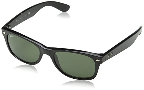 Ray-Ban Unisex Sonnenbrille New Wayfarer, Black and Transparent, Large (Herstellergröße: 55)