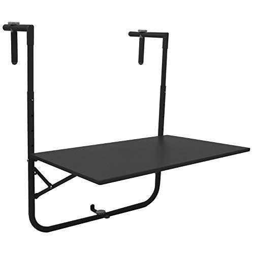 Balkontisch 60x40cm Schwarz, Tischplatte klappbar und 3-Fach höhenverstellbar, Hängetisch Gartentisch Klapptisch
