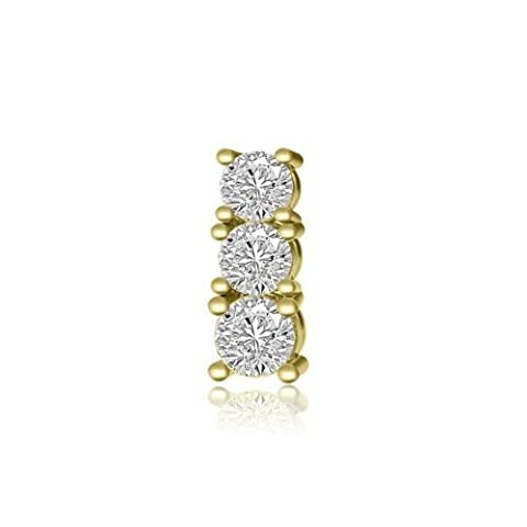 0.21ct F/VS1 Diamond Pendant for Women with Round Brilliant Diamonds in 18ct Yellow Gold without Necklace