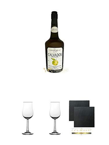 Marquis de Saint-Loup Calvados Selection Pays d'Auge Frankreich 0,7 Liter + 2 Bugatti Nosing Gläser mit Eichstrich 2cl und 4cl + 2 Schiefer Glasuntersetzer eckig ca. 9,5 cm Glas Marquis