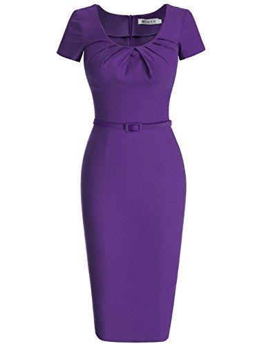 MUXXN Damen 1950's Retro Rundhals Kurzarm Abend Bleistift kleid Vintage Kleider Partikleid Business Kleid(S, Violet)