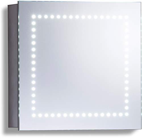 LED beleuchteter Badezimmer Spiegelschrank (Tageslichtweiß bei 6500K) TÜV geprüft mit Antibeschlag-Pad ohne sichtbare Kabel, Steckdose, Sensor-Schalter und LED-Lichter 50cm x 50cm x15cm (HxBxT) C18 (Pad-schalter)