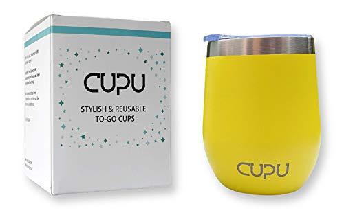 CUPU Kaffeebecher   to-Go   Edelstahl   Eco   Wiederverwendbar   12oz / 350ml   Doppelwand Isolierung (Bienengelb)