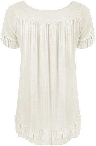 WearAll - Neu Damen Übergröße Halskette V-Ausschnitt Kurzarm Rüsche Tunika Top - 4 Farben - Größe 42-52 Creme