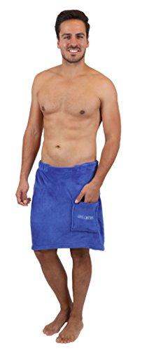 Betz Saunakilt Sauna Kilt Herren Coralfleece Farbe blau Größe: 50x140 cm