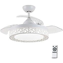 42 Pouces ventilateur silencieux moderne Plafonnier, lumière Chandelier, feuille invisible Lumière De Ventilateur De Plafond, Rétractable Ventilateur à pales Avec Télécommande LED Intérieure Lampe