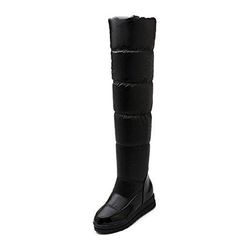 AllhqFashion Damen Mittler Absatz Blend-Materialien Überknie Hohe Stiefel Ziehen auf Stiefel,Weiß,36