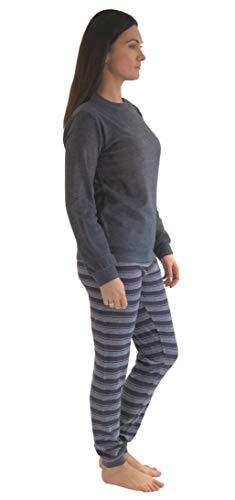 Damen Frottee Pyjama Schlafanzug Langarm mit Bündchen und Sterne Motiv - 281 201 03 001, Farbe:Marine, Größe2:44/46