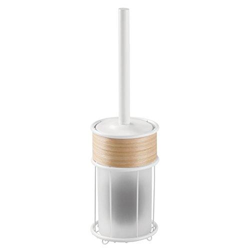 Interdesign 90580EU RealWood Brosse de Wc avec Support Autoportant pour Toilette Acier Inoxydable Blanc 12,065 x 12,065 x 41,91 cm