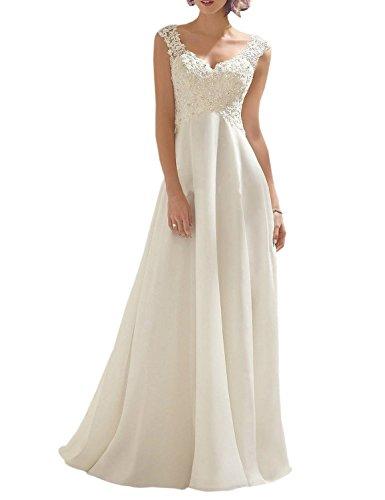 Vougemarket® A-Linie Lang Spitze Chiffon Brautkleid Hochzeitskleid Strand Brautmode mit Träger Elfenbein 38