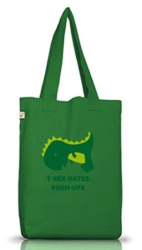 Shirtstreet24, T-Rex Hates Push-Ups,Dino Jutebeutel Stoff Tasche Earth Positive (ONE SIZE) Moss Green