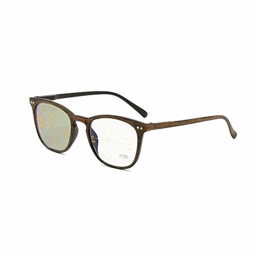 EnzoDate Übergang photochrome progressive Multi Focus Lesebrille Retro Nerd Vario keine Linie schrittweise + RX weitsichtige UV400 Sonnenbrille