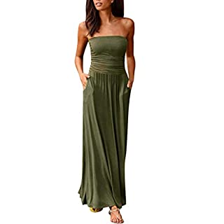 PRINCER Womens Holiday Off Shoulder Long Dress Ladies Summer Solid Maxi Dress Womens Ladies Ruched Jersey Plain Sheering Flared Swing Bandeau Boobtube Top Green