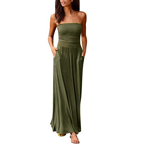 BHYDRY Womens Bandeau Holiday Schulterfrei Langes Kleid Ladies Summer Solid Maxi Dress