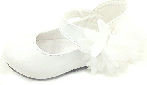 Ballerina festliche Kinderschuhe Mädchenschuhe Halbschuhe weiß Blume Weiß