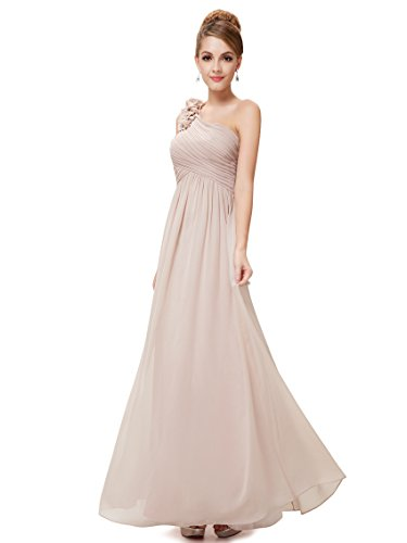 Ever Pretty Damen One Shoulder Blumen Lang Chiffonkleid Abendkleider 36 Größe Khaki