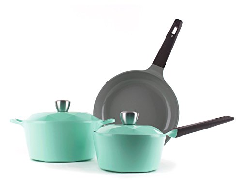Neoflam Carat 5-Piece Ceramic Nonstick Cookware Set, Fresh Green by Neoflam