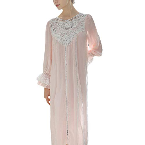 Womens Cotton Nachthemd Damen Langarm Prinzessin Lace Nightie Gericht Retro-Pyjamas Loose Soft...