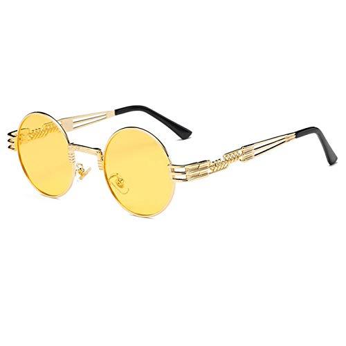 FGRYGF-eyewear2 Sport-Sonnenbrillen, Vintage Sonnenbrillen, Steampunk Sunglasses Luxury Men Round Sun Glass Coating Glasses Metal Vintage Retro Lentes Of Male 16 Colors