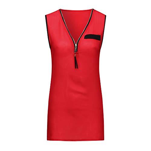 (CAOQAO Sport Reisen Mode Damen Sommer V-Ausschnitt äRmellose ReißVerschluss Kurzarm Mode-Version Der Jacke LäSsig Chiffon Weste)