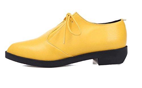 Scarpe in pelle Primavera New Soft Split Donne 2017 appartamenti confortevoli Lace Up Loafters donne Scarpe a punta esterna Casual Shoes Yellow