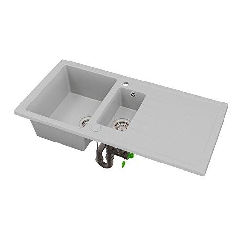 Sossai lavello granito NEVIO bianco 15 vasche 100 x 50 (per larghezza base partire da 60 incl. sifone eccentrico girevole valvola per filtro cestello