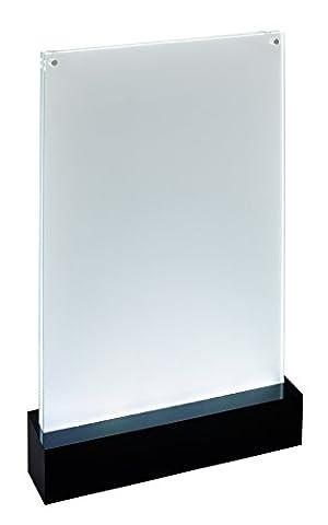 Sigel TA420 Présentoir de table LED pour A4, présentation double face à illuminer, transparent/noir, acrylique