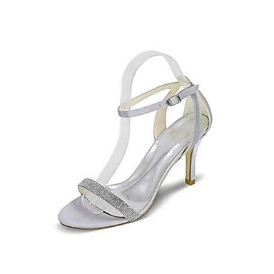 Wuyulunbi@ Scarpe donna seta Primavera Estate della pompa base Wedding scarpe tacco basso Peep toe Strass fibbia per la festa di nozze & Sera Beige argento Argento