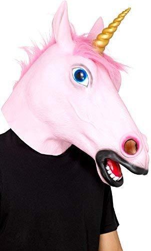 Fancy Me Herren Damen Einhorn mit Kapuze Latex Tier Mythisch Karneval Festival Lustiges Kostüm Outfit Accessoire Maske (Mythische Tier Kostüm)