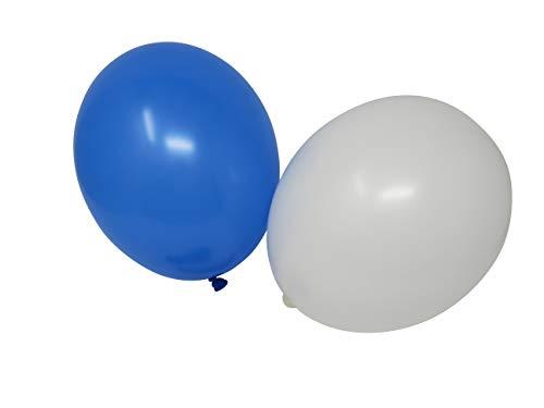100 Luftballons je 50 blau & weiß Qualitätsballons 27 cm Ø (Standardgröße B85) (Weiße Und Blaue Luftballons)