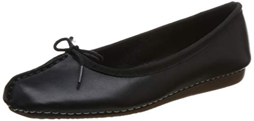 Clarks Damen Freckle Ice Geschlossene Ballerinas, Schwarz (Black Leather), 43 EU