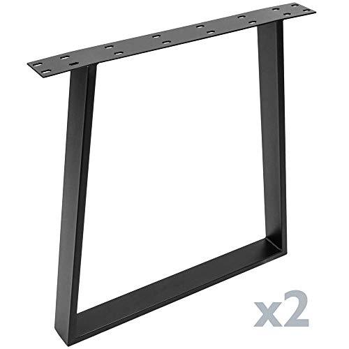 PrimeMatik - Pies rectangulares para Mesa. Patas en Acero Negro 695 x 85 x 720 mm 2-Pack