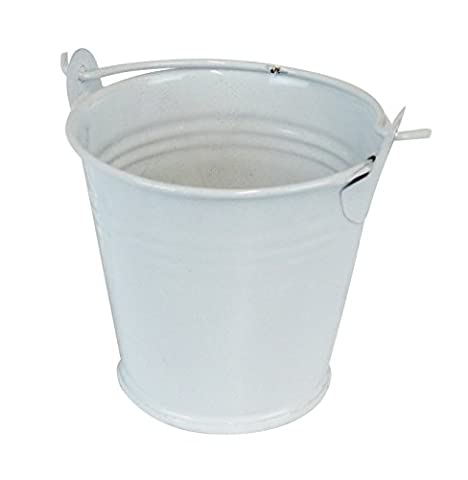 55MM METAL MINI COLOURED WEDDING FAVOUR PAILS BUCKET PARTY GIFTS TABLE DECORATION CHRISTENING (WHITE, 10) *UK SELLER*