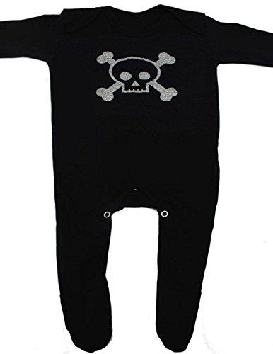 Calavera & Calavera alternativa Baby para niño/Cool fangbanger por diseño de vestido de Moo Jolly Roger pirata Calavera & Cossbones negro bebé niñas o niños ropa–Bebé Idea de regalo negro negro Talla:0-3 Meses